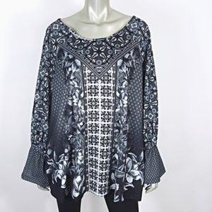Plus Size 3X Gray Floral Knit Bell Sleeve Boho Top